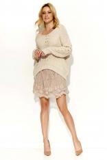Beżowy Sweter Krótki z Dużym Dekoltem V
