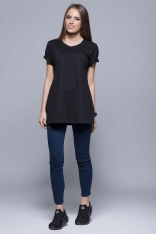 Czarny Luźny T-shirt z Krótkim Wywijanym Rękawem