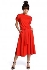d69c681725 Czerwona Midi Sukienka z Szerokim Dołem