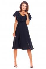 Czarna Rozkloszowana Midi Sukienka z Falbanką przy Dekolcie