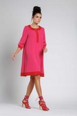 Ciemno Różowa Luźna Wizytowa Sukienka na Guziki z Lamówkami