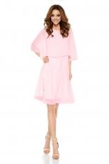 Różowa Elegancka Wieczorowa Sukienka z Narzutką