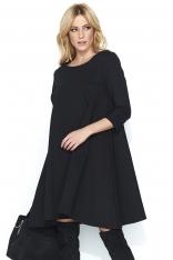 Czarna Wizytowa Sukienka Trapezowa z Rękawem ¾