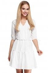 Ecru Sukienka w Stylu Boho