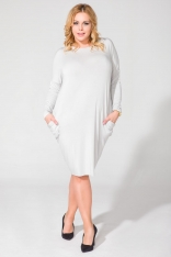 Jasnoszara Luźna Dzianinowa Sukienka Midi z Długim Rękawem Plus Size