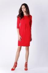 Wizytowa Krótka Czerwona Sukienka z Zakładką na Przodzie
