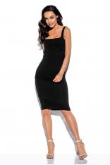 Czarna Dopasowana Sukienka Bawełniana z Kwadratowym Dekoltem
