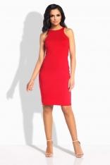 Czerwona Sukienka Ołówkowa do Kolan bez Rękawów
