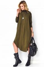 Asymetryczna Sukienka Dzianinowa z Golfem - Khaki