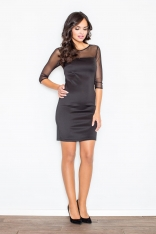 Czarna Elegancka Sukienka z Transparentnym Karczkiem