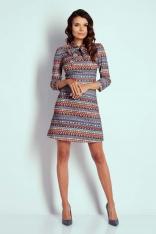Boho Wizytowa Taliowana Sukienka z Wiązaniem