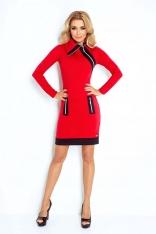 Czerwono Czarna Sukienka Ołówkowa z Kontrastowymi Suwakami