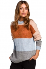 Klasyczny Sweter w Kolorowe Pasy - Model 1