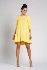 Żółta Wizytowa Sukienka o Kroju Litery A z Falbanką
