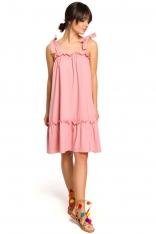Różowa Luźna Letnia Sukienka Wiązana na Ramionach
