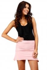 Różowa Dzianinowa Mini Spódnica