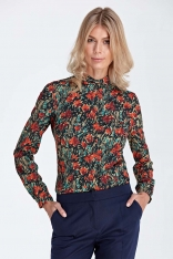 Elegancka Bluzka Koszulowa z Okrągłym Kołnierzykiem - Wzór Pomarańcz