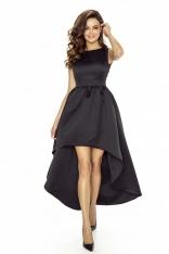 Czarna Sukienka Asymetryczna Wieczorowa