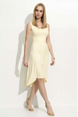 Żółta Sukienka Asymetryczna na Szerokich Ramiączkach