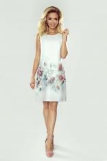 Biała Sukienka Koktajlowa z Motywem Kwiatów