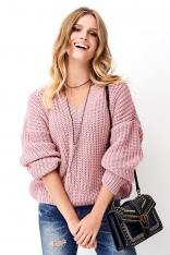 Różowy Klasyczny Sweter Oversize z Dekoltem w Serek