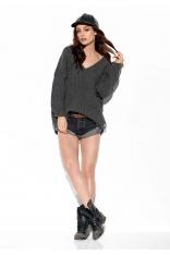 Oversizowy Sweter z Dekoltem V - Grafitowy