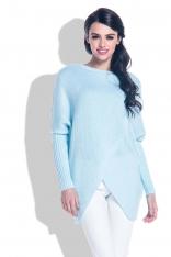 Błękitny Sweter o Luźnym Fasonie z Kopertowym Dołem