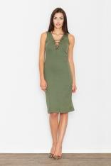 Zielona Sukienka Midi ze Sznurowaniem przy Dekolcie