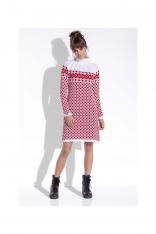 Biało Czerwona Sukienka Żakardowa w Skandynawskie Wzory