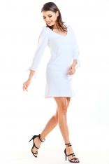 Biała Trapezowa Mini Sukienka z Kokardą przy Mankietach