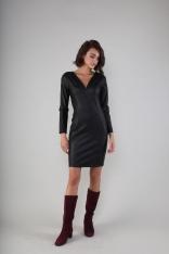 Czarna Dopasowana Sukienka w Serek z Eco- Skóry