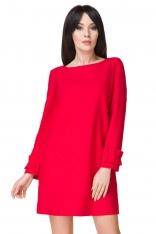 Czerwona Sukienka z Falbanką przy Rękawie