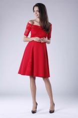 Czerwona Wyjściowa Sukienka Hiszpanka z Koronką