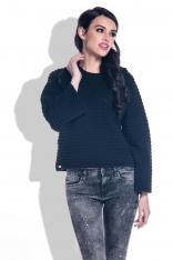 Czarny Sweter ze Strukturalnym Splotem z Szerokim Rękawem