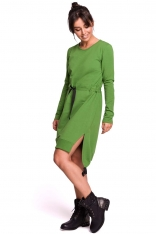 Limonkowa Casualowa Sukienka w Stylu Bluzy