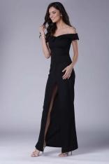 Czarna Wieczorowa Sukienka Maxi Odsłaniająca Dekolt i Ramiona
