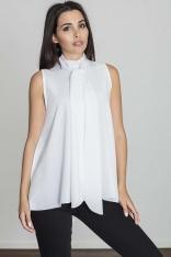 Biała Rozkloszowana Bluzka z Wiązanym Krawatem bez Rękawów