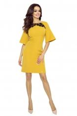 Miodowa Sukienka z Koronką z Kloszowanym Rękawem