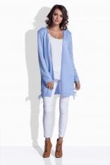 Błękitny Sweter - Narzutka z Kokardkami
