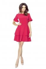 Malinowa Sukienka z Rozkloszowanym Rękawem