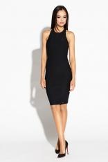 Czarna Mini Sukienka Odsłaniająca Ramiona i Plecy