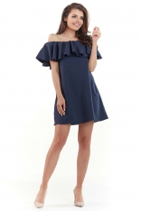 Granatowa Wyjściowa Sukienka Mini Typu Hiszpanka