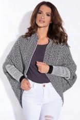 Czarny Sweter - Narzutka we Wzory