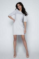 Szara Sukienka Ołówkowa z Patkami w Talii