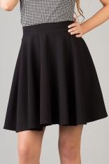 Czarna Modnie Rozkloszowana Spódnica Mini