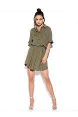 Sukienka z Koszulowym Kołnierzykiem - Khaki