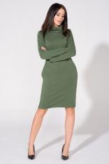 Zielona Sukienka Dzianinowa z Kominem