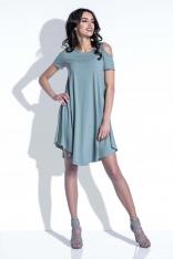 Oliwkowa Sukienka z Odkrytymi Ramionami
