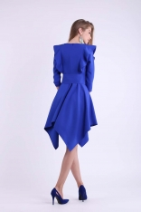 Kobaltowa Asymetryczna Sukienka Wizytowa ze Sznurowanym Paskiem