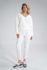 Bawełniane Spodnie z Rozciętą Nogawką - Ecru
